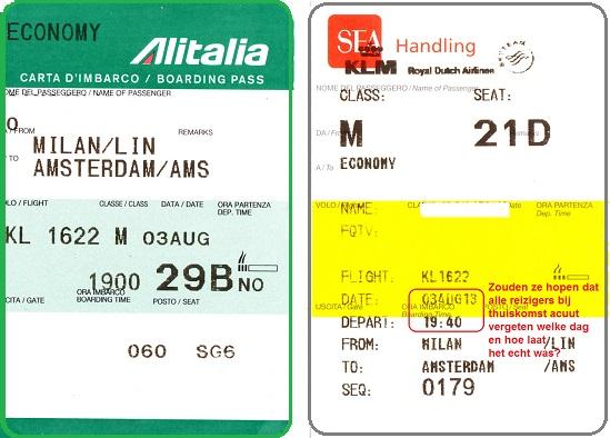 Instapkaarten KL1622 - KLM/ Alitalia - curieus....