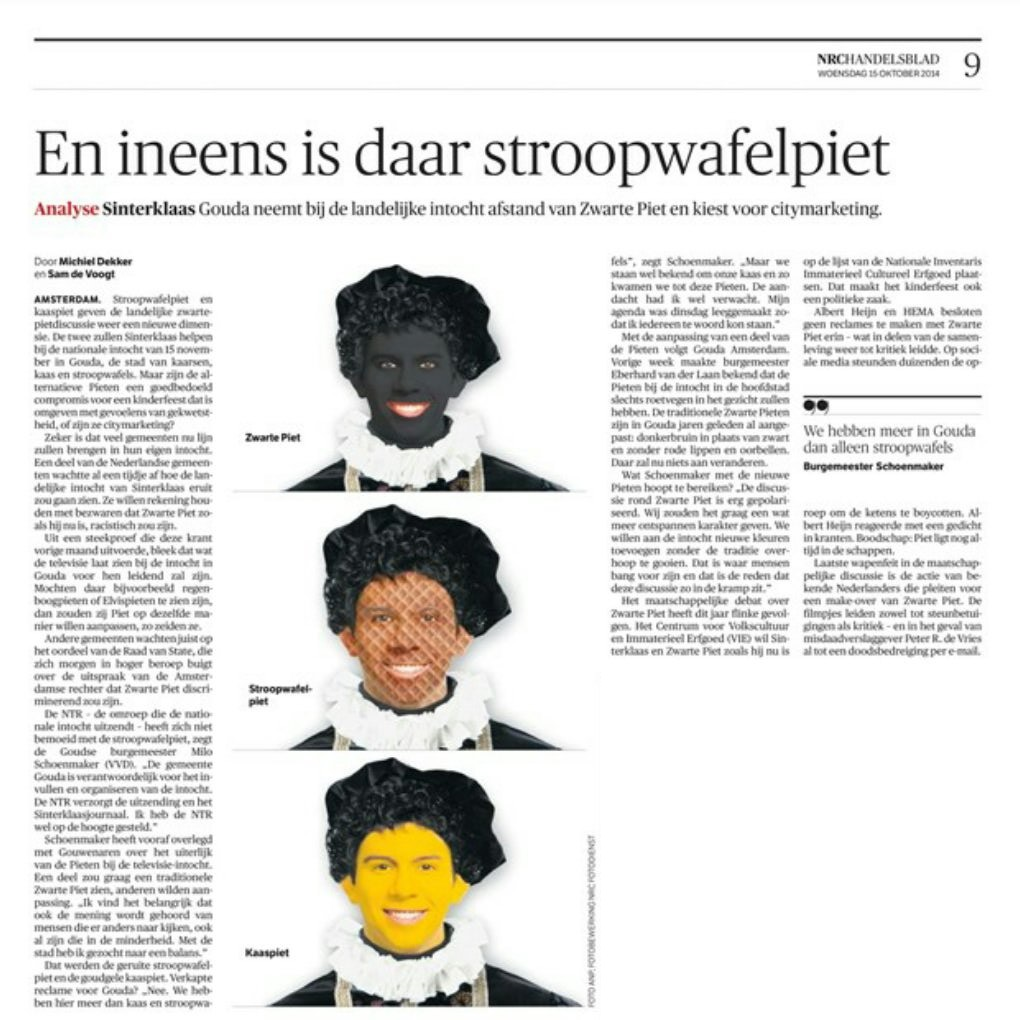 Zwarte Piet Stroopwafelpiet Kaaspiet NRC, 15 oktober 2014