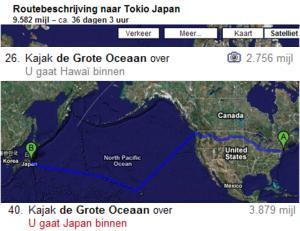 Kajak de Grote Oceaan over