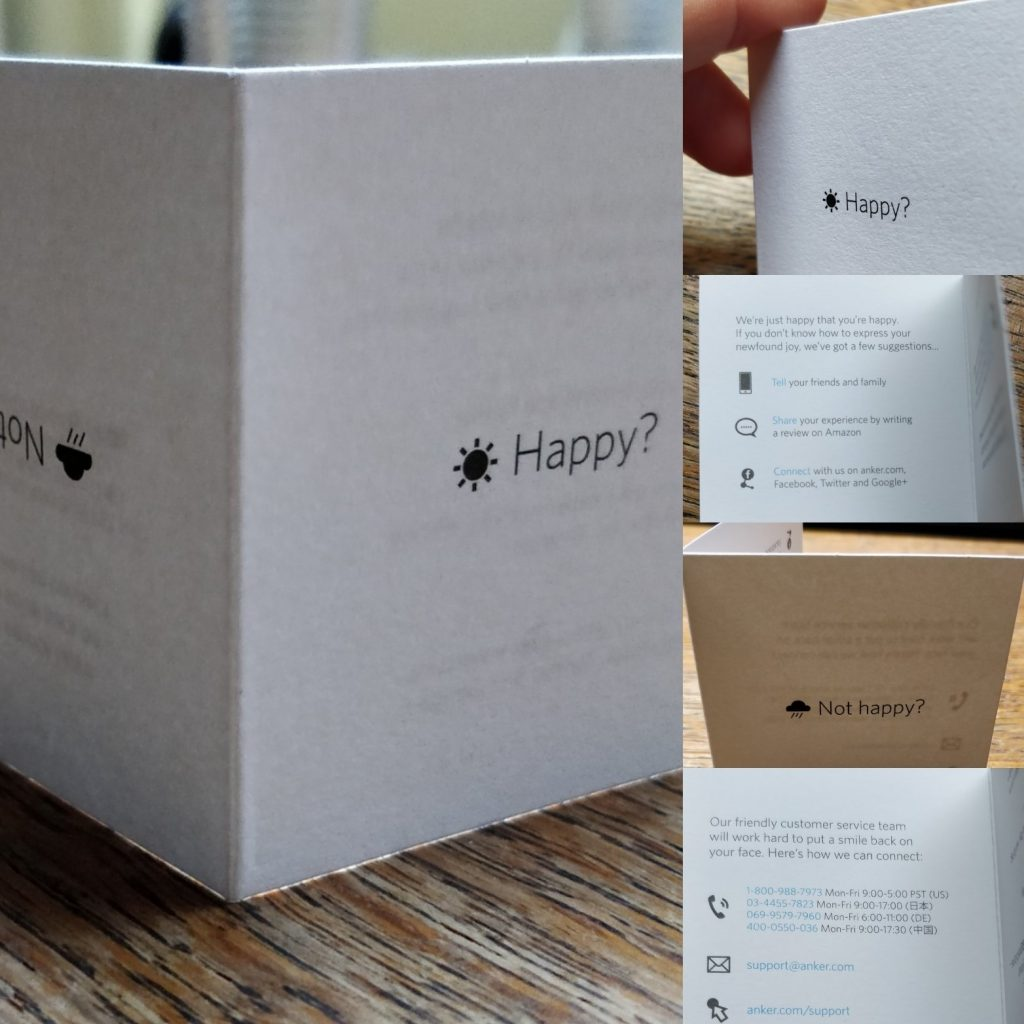 Example (photo) of a very customer friendly card from Anker